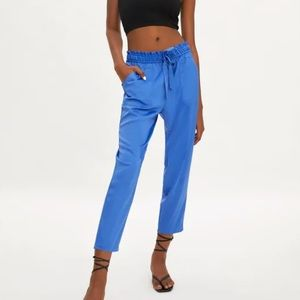 Zara Blue Satin Jogger Pant Size Medium